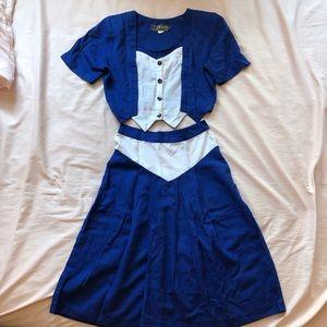 Western Blue/White Top & Skirt Set